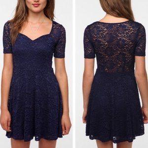 UO Pins & Needles Navy Blue Lace Dress